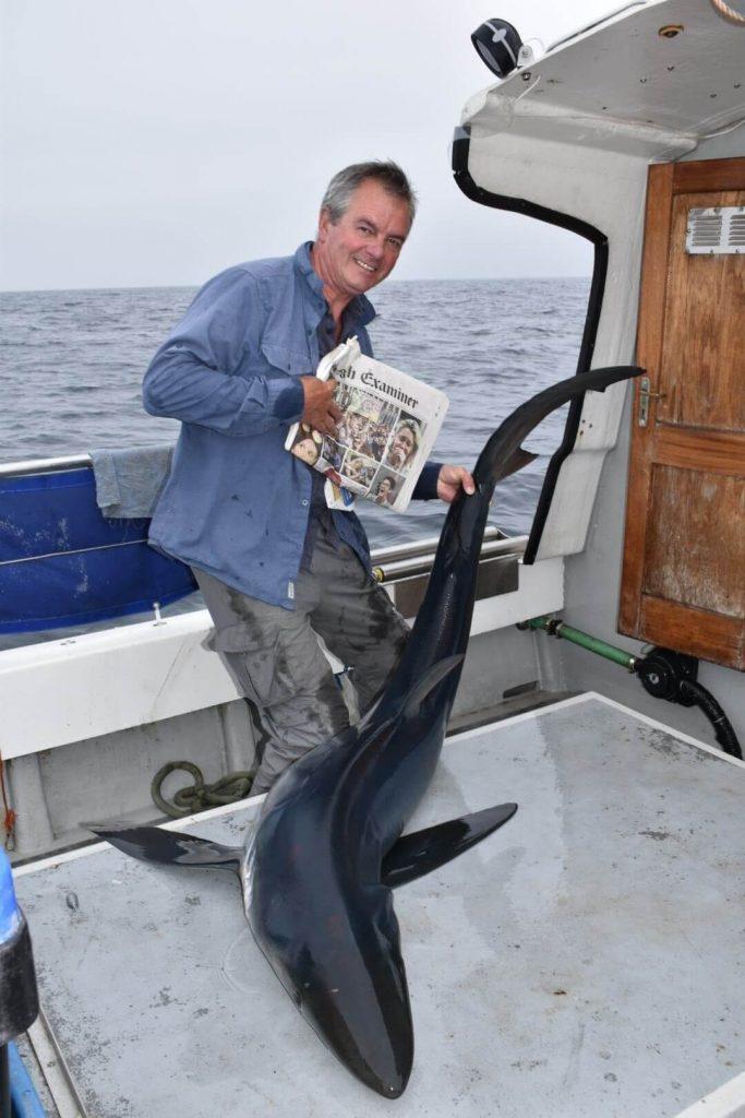 1.7 m Blauhai für David an Bord der Tigger. Irlands erster gemeldeter Blauhai für 2018, der Catch of the Week. #CPRsavesfish